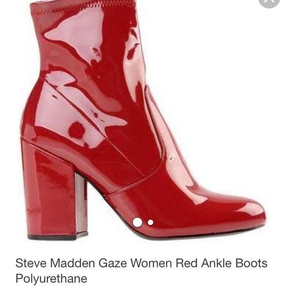 4e406bea6dd Gaze Red Patent Steve Madden Boots